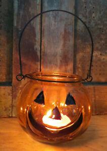 Jack O Lantern Pumpkins Candle Holder Tealight holder Primitive Halloween Decor