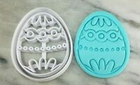 Easter Egg Cookie Cutter 2-Piece, Outline & Stamp #8 Flowers Bunny