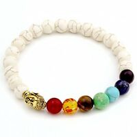 7-Chakra Bracelet Healing Reiki Jasper Stone Yoga Buddha Prayer Meditation White