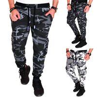 Herren Camouflage Hose Jogginghose Sporthose Fitness Sport Jogging Army H02A Neu