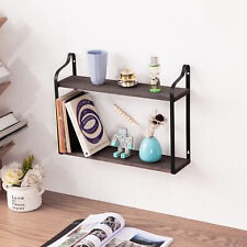 2 Tier Wall Shelves Floating Mounted Shelf Storage Display Home Decor Wooden