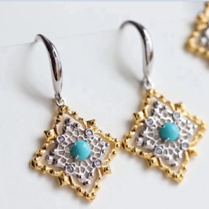 Natural Diamond Cabochon Blue Turquoise Charm Hook Earrings 14K Gold Jewelry