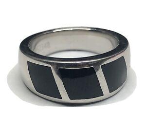 BERNARD PASSMAN BLACK CORAL & PLATINUM Triple Inlay Men's Ring
