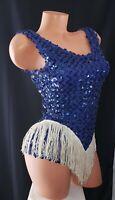 Vtg Fina Blue Sequin Flapper Performance Leotard Dance Halloween Costume Sz LA
