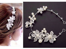 Bridal Headpiece Wedding Diamante Pearls Rhinestone Ivory Headband Hair Band 1Pc