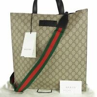 Auth GUCCI UNUSED GG Supreme PVC Leather 2WAY Shoulder Tote Hand Bag 11498bkac