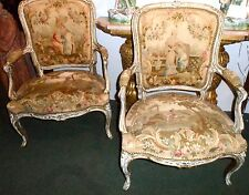 Pr 19th c French armchairs w/ aubusson tapestry