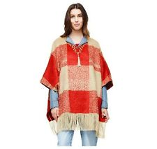 Adam Lippes for Target Plaid Mohair Fringe Poncho - Red and Tan Sz L/XL NWT