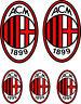 Milan Adesivi Stickers  squadra calcio logo Milan 5 pezzi