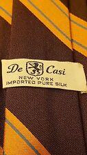 "Vintage, De Casi, Purse Silk, Brown/Orange/Blue, Striped, Skinny Neck Tie (56"")"