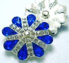 3 Clear/Blue 30mm Crystal/Rhinestone Silver Metal Shank Buttons N150