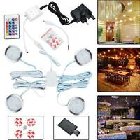 LED Spotlight Under Cupboard Cabinet Lights Kit Round Remote Control Light 12V