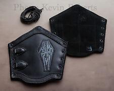 LeatherWorks LARGE Premium Black Leather Skullz Bracers x2 Arm Guards Armor SALE