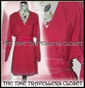 BNWT KATE MOSS TOPSHOP RED BATWING MINI WRAP DRESS DIAMANTE EMBELLISHED CUT UK 8
