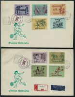 HUNGARY 1965 History of Tennis 2 x FDC Registered Airmail to USA