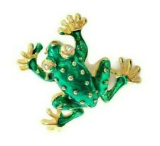 Gold Tone Metal & Green Enamel Small 1-inch Frog Brooch Pin