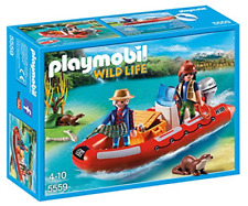 Playmobil Wildlife Floating Inflatable Boat With Explorers 5559