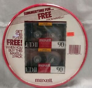 Rare 2 Maxell UDII 90 Minute Cassette Tapes - New & Sealed with Promo Frisbee