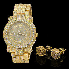 14K Gold Plated ICED OUT Cz Micropave Earring Stud Round w/ Fully CZ Watch