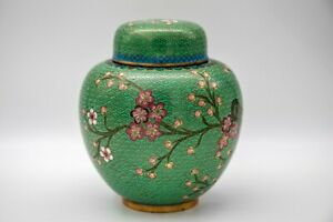 Magnificent vintage urn/ potiche covered pot  Chinese brass ring top.