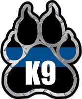 Police K9 Paw Decal K-9 Dog Unit Thin Blue Line Vinyl Sticker Law Enforcement V