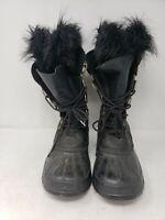 Vintage Sorel Fur Boots Women's size 7 Black Lace up Rubber  faux Fur Lined