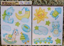 Nursery Children Kid Baby Boy Blue Teddy Moon Sun Wall Sticker Decal Bedroom