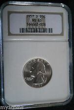 1957-D Washington Silver Quarter,  NGC MS65, DIE BREAK & CRACK AT BOW !