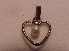 "Pearl Heart Pendant Charm Gold Open Heart Charm 3/4"""