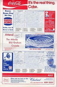 1973 Hank Aaron 700 HR Program Atlanta Braves Scored vs Phillies July 21VG