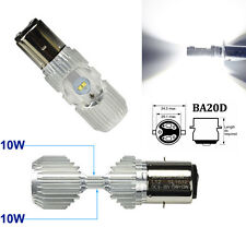 20W CREE BA20D H6 White SMD LED 9-85V L/H Beam Headlight Bulb Motorcycle US POST
