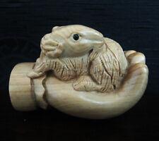 """Q4122 - 2 """" Hand Carved Japanese Boxwood Netsuke -Goat"""