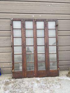 An 635 Set Antique Oak Bifold Beveled Glass Doors 67 X 83.75 X1.75