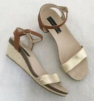 Steven By Steve Madden Sandals Size 8.5 Women's Gold Band Low Wedge Espadrille