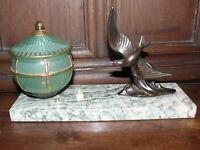 Rarität Original Art Deco Lampe Tischlampe fliegender Vogel  ca.1925 Frankreich