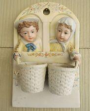 Antique Bisque Porcelain German? Match Striker/Wall Mount Spill Vase-3D Boy/Girl