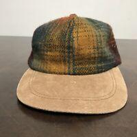 Vintage Brown Union Made Wool Strapback Hat Workwear Baseball Cap