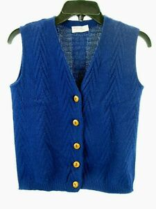 Vtg Childrens Vest Geometric Blue Button up Sweater Vest  Acrylic Knit Med