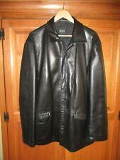 Mens Hugo Boss Maca Black 100% Lambskin Leather Zip Front Jacket Coat 42R Turkey