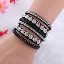 Bracelet gourmette cuir 3 rangées rivets  Swarovski® Elements ajustable noir