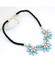 Halskette Nr.1 Kette Blau Gold Blumen Zirkonia Party Damen Schmuck Collier Kette