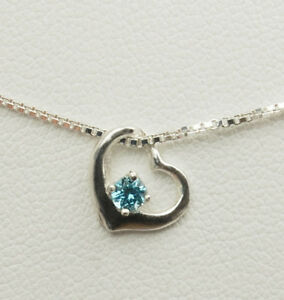 Genuine Gemstone Birthstone Heart Pendant Necklace - SS