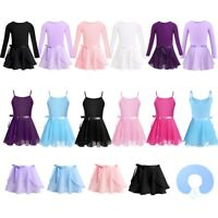 Girls Ballet Team Basic Leotard+Chiffon Tied Skirt Outfit Gym Dance Tutu Dress