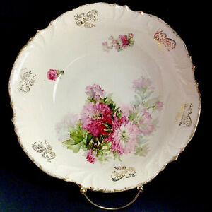 """ANTIQUE BOWL SCALLOPED RED FLOWERS GOLD ACCENT 10 3/8"""" PORCELAIN"""
