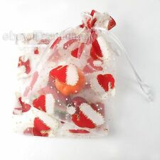 20x New Christmas Hat Theme Sheer Organza Pouch Gift Bag Fit Wedding Package L
