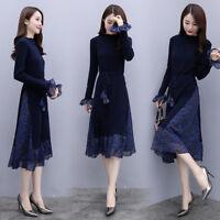 latest Autumn winter Korean fashion trendelegant Knitting chiffon splicing dress