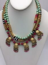 $44 Robert Rose 3 Row gold tone statement indian bead Necklace L&T24a