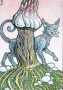 ACEO  Fantasy Original Dark Fairy Cat (Mushroom)