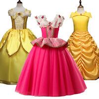 Kids Girls Costume Princess Fairytale Dress Belle Aurora Cosplay Party Dresses