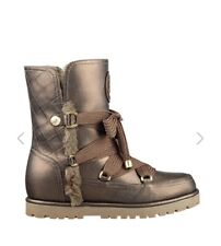 Guess Snow Boots Booties Gold BROWN Metallic Fallon Faux Fur Sold Out GWFALLON2